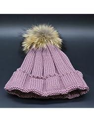 Wenxin0815 Hat Gorro De Punto Otoño Invierno Amplio Borde Tricotado Tapa Exterior Engrosada Cálida Gorra Mujer,Color Lila