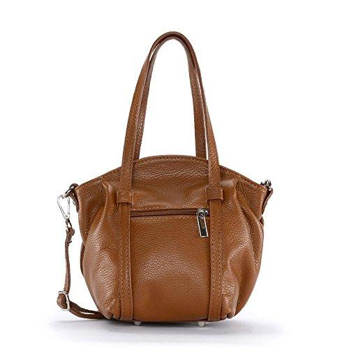 OH MY BAG Sac à main femme en cuir porté main et bandoulière Modèle Sissy Nee Nouvelle Collection COGNAC FONCE
