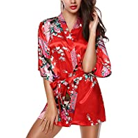 Avidlove Pijama lencería kimono corto de satén de estampado floral para Mujer