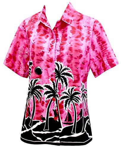 LA LEELA Hawaii-Hemd Blusen-Taste nach unten entspannt fit Frauen mit kurzen Ärmeln Lager Rosa XL