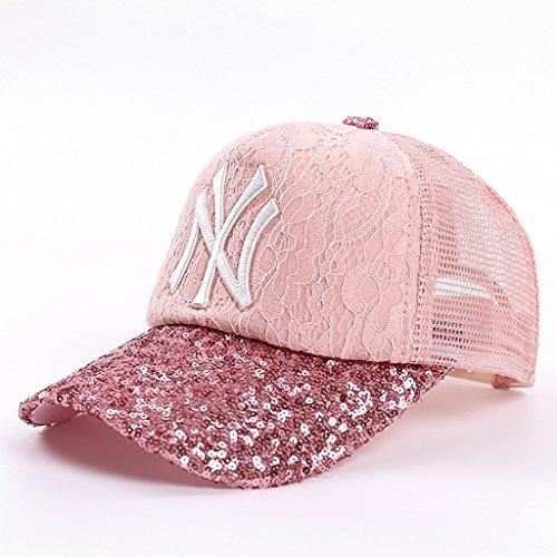 HSRG Hats Baseball Cap Frühling und Sommer Männer und Frauen Brief Pailletten Stickerei Cap Mode Sunhat Hip-Hop-Sonnenschutz Hut,Pink