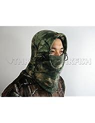 verde biónico Camo camuflaje grueso vellón Skullies Gorros caliente invierno chaqueta sombrerería Caza Pesca Máscara Sombrero