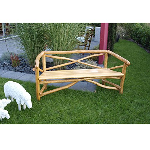 Gartenbank ROSSBACHTAL 3 Sitzer, hochwertiges Eichen Rundholz (Knüppelholz)