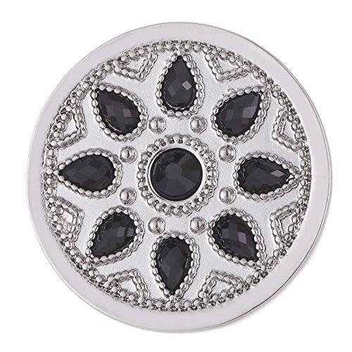 Morella Damen Coin 33 mm Blumenornament Silber schwarz