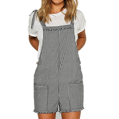 Damen Baumwolle Latzhose - Lässig Sommer Kurze Hose Jumpsuits mit Taschen Mode Gurt Frühling Insgesamt Jumpsuits Vier Farben S-XL