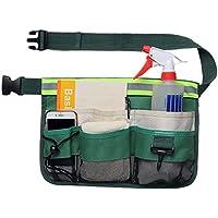 QEES - Cinturón de herramientas de jardinería con tira reflectante Oxford 600D ajustable con cinturón de cintura para hombre/mujer, bolsa de limpieza de herramientas verde para el hogar, jardín, restaurante YB12