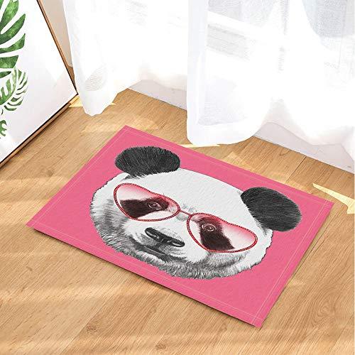 dsgrdhrty Schöne Tiere Bad teppiche porträt von Panda mit herzförmigen Sonnenbrille rutschfeste fußmatte Indoor 60x40 cm