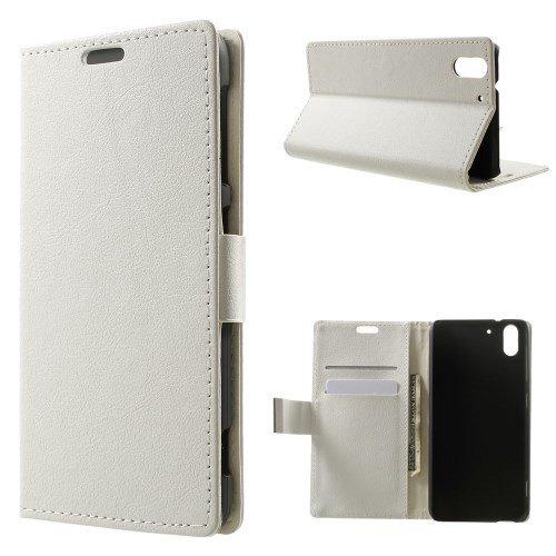 jbTec® Flip Case Handy-Hülle zu HTC Desire Eye - Book EINFARBIG - Handy-Tasche Schutz-Hülle Cover Handyhülle Ständer Bookstyle Booklet, Farbe:Weiß