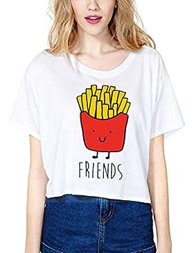 Mangotree Best Friends T Shirt Sommer Schwestern Tops Damen Weiß Kurzarm Shirt Süße Hamburg Pommes Frites Crop...