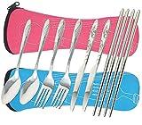 8 pezzi Set da tavola Coltello, forchetta, cucchiaio, bacchette, fibound 2 confezioni da tavola in acciaio inossidabile in acciaio inossidabile Dinnerware con custodia per viaggiare Camping Picnic Working Hiking (Blu e rosa)