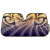 Faszinierende Hypnotic Leopard Augen Leopard Reflektierende Double Bubble Folie Jumbo zusammenklappbar Akkordeon Sonnenschutz für Auto Truck SUV vorne Windschutzscheibe Fenster wendbar Sonne Schatten Universal 71,1x 147,3cm BDK