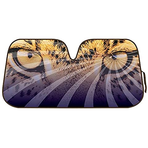Mesmerizing Hypnotic LEOPARD EYES Leopard Reflective Double Bubble Foil Jumbo Folding Accordion SUNSHADE for Car Truck SUV Front Windshield Window Reversible Sun Shade Universal 28x58 inches BDK