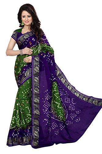 Shree Sondarya Bandhani Women's Art Silk Saree With Blouse Piece (Ssb-S3022-02_Blue-Green)