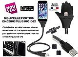 FASTEO (TM) - Câble Rigide Flexible Chargeur Apple - MAINTIEN DEBOUT - Pour iPhone (Apple) 7 / 7 Plus / SE / 6s / 6s Plus / 6 / 6 Plus / 5C / 5S, iPad Pro, Air, iPad mini, iPod nano, iPod Touch et Apple Lightning Chargeur / NEW DESIGN RESISTANT 2017 ( Noir )