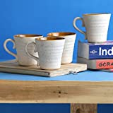 Miah Decor Eco Friendly Stoneware 300 ML Handmade Mugs - Set Of 4