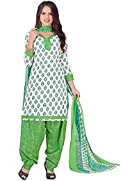 Kanchnar Women's Cotton Printed White,Blue,Green Casual Wear Dress Material