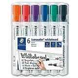 Staedtler Lumocolor 351 WP6 Whiteboard-Marker (Rundspitze ca. 2 mm Linienbreite, Set mit 6 Farben, hohe Qualität, trocken und rückstandsfrei abwischbar von Whiteboards)
