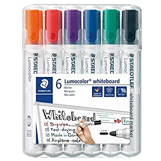 STAEDTLER 351WP6 Lumocolour Whiteboard Marker with Bullet Tip, Multicolor , Pack of 6 (B000J69O8E)   Amazon price tracker / tracking, Amazon price history charts, Amazon price watches, Amazon price drop alerts