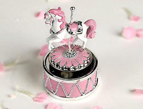Rosa drehendes Karussell-Pferd Musical Box mit Musik des Schlosses im Himmel färben Rosa für Weihnachten / Geburtstag / Valentinstag ()