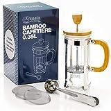 Koala Koffee Cafetera émbolo de bambú con Cuchara medidora, Pinza para sellar la Bolsa y Tres filtros de Recambio (0.35 L)