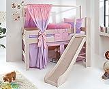Froschkönig24 Hochbett LEO Kinderbett mit Rutsche Spielbett Bett Weiß Stoffset Lila/Rosa/Herz