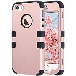 ULAK Coque iPhone 5S, iPhone Se Coque Housse de Protection Anti-Choc Matériaux Hybrides en Silicone Souple et PC Dur Coque pour Apple iPhone 5 5S Se (Or Rose + Noir)