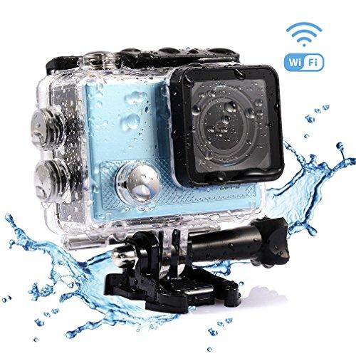 Galleria fotografica LESHP Action Cam Full HD 4K WIFI Sport Camera con Custodia Impermeabile 20 MP 170° Grandangolare 2.0 Pollici 900mAh Batterie e Kit Accessori per Ciclismo Nuoto e altri Sport Esterni
