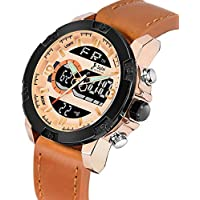 Kavyansi Fabulous Trend Brand Mens Leather Analogue Digital Dual Time Black YD-NF9097 Analog-Digital Watch - for Men (Rose-Gold)