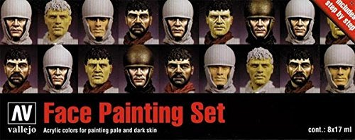 3XVallejo Model Color Faces Painting Acrylic Paint Set - Assorted Colours (Pack of 8)