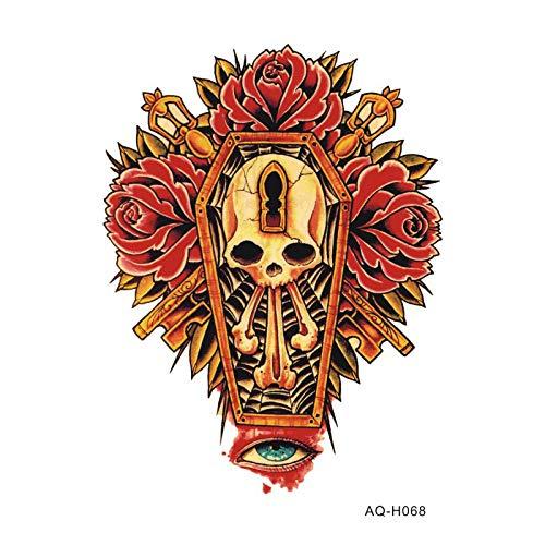 Tattoo Aufkleber Wasserfest Große Arm Ärmel Temporäre Tätowierung Aufkleber Geheimnis Blume Schädel Arm Art Tattoo Männliche Hälfte Indische Totem Gefälschte Tätowierung Für Männer 21X15 - Geheimnis Katze Kostüm