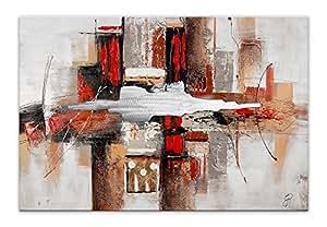 Arte dal Mondo AS350X1 Abstrait Tableau Moderne Peint à la Main sur Toile avec Châssis Multicolore 80 x 120 x 3,5 cm