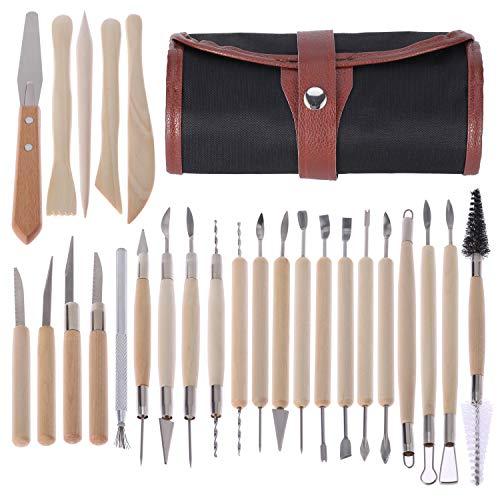 KWOKWEI Modellierwerkzeug, 26pcs Keramik Werkzeug/Grabstichel Schnitzmesser mit Holzgriff, DIY Ton Clay Sculpting Tool kit mit Tasche für Modellbau, Kerzenherstellung, schnitzarbeiten Töpfer