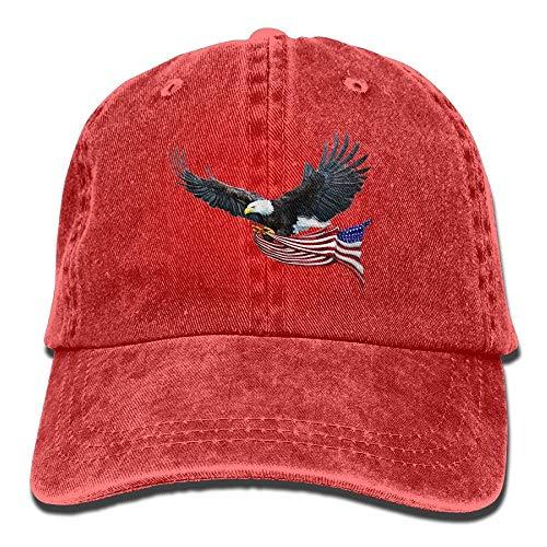 Eagle American Flag Denim Hat Adjustable Mens Curved Baseball Cap 5adbe59cf14b
