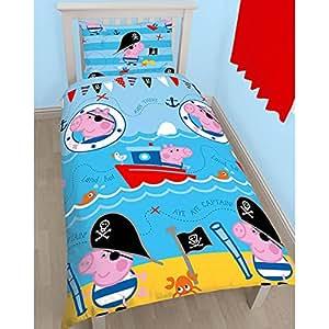 peppa pig george pirate unique housse de couette et taie d. Black Bedroom Furniture Sets. Home Design Ideas