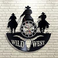 OOFAY Clock@ Wanduhr aus Vinyl Schallplattenuhr Upcycling Familien Dekoration 3D Texas Western Cowboy Design-Uhr Kunst Geschenk Schwarz/30CM*30CM*5CM