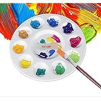 homiki 10 Bonne Ronde Compartiments Blanc Grille Plastique Peinture Dessin Aquarelle Palette de mélange pour la Peinture et Les Loisirs Créatifs