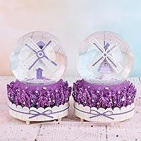 SMAQZ Snow With Lights Romantic Windmill Crystal Ball Ornaments - Birthday Gift Music Box (Lights) 4K148 Windmill