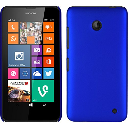 PhoneNatic Custodia Rigida per Nokia Lumia 630 - gommata blu - Cover + pellicola protettiva