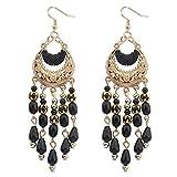 Dhrohar Diva Black Beads Chandelier Earr...