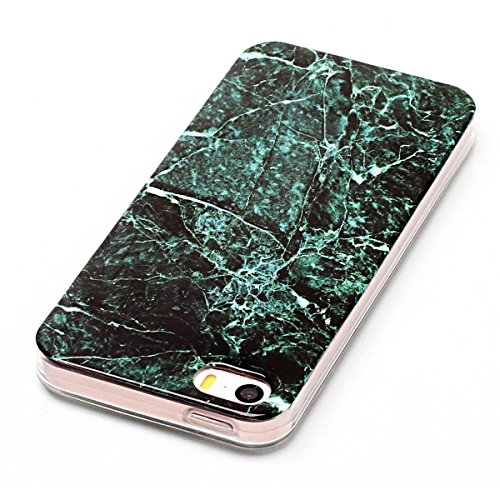 "iPhone 5s Hülle, Marble Design CLTPY iPhone SE Dünn Matt Handytasche Flexible Weich Silikon Schale Etui Transparent Bumper Stoßdämpfung Fall für 4.0"" Apple iPhone 5/5s/SE + 1 x Stift - Milchig weiß Dunkelgrün"