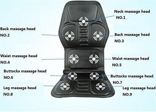 SHISHANG Auto-Massagegeräte Multifunktions-Elektro-Auto-Massagekissen Massagematratzen faltbar Müdigkeit zu beseitigen Schmerzen schwarz Größe 122 * 52 ** cm zu entlasten