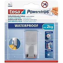 tesa Powerstrips Haken wasserfest / Selbstklebende Halterung aus rostfreiem Edelstahl für Dusche, Bad und Küche, max. 2 kg (2er Pack)
