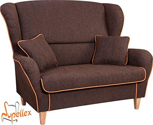 Supellex, Sofa / Ohrensessel, Zweisitzer mit zwei Hockern, Dessin: Cord, braun