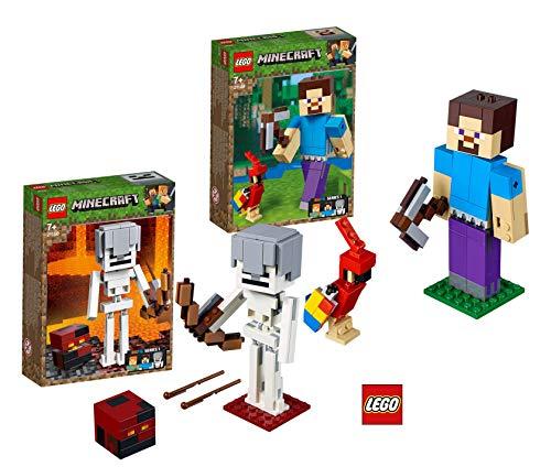 LEGO Minecraft™ 21148 Minecraft™-BigFig Steve mit Papagei Minecraft™ 21150 Minecraft™-BigFig Skelett mit Magmawürfel