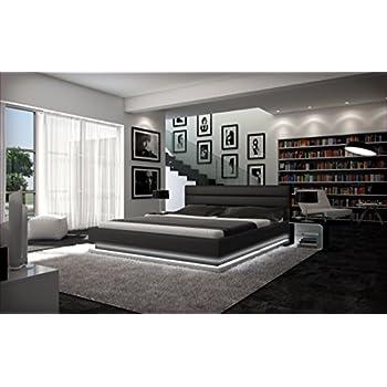 Designer bett 140x200  Polster-Bett 140x200 cm schwarz aus Kunstleder mit LED-Beleuchtung ...