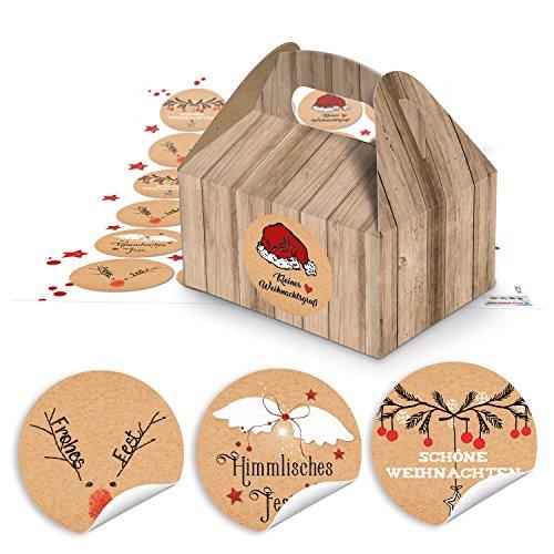 48 Petites boîtes pour cadeaux comme Pralines, biscuits (9 x 12 x 6 cm sans poignée) + Planches d'autocollants en rouge/blanc/noir/marron ronde avec grüßen Joyeux Noël, Noël (14126) à remplir
