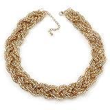 Gold ton geflochten Mesh Choker Halskette–Länge 38cm/4cm Verlängerung