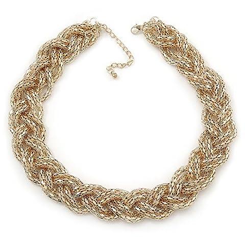 Gold Tone Plaited Mesh Choker Necklace - 38cm Length/ 4cm