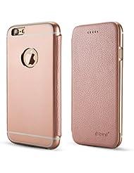 PhoneStar Premium Housse en Cuir Authentique en Aluminium Housse en Métal Housse Flip avec Intérieur en Silicone de Protection pour l'Apple iPhone 7 Plus en rosé