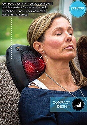 Comfort Supplies Premium Shiatsu Massage Cushion with Heat ✮ Soothing Shiatsu Pillow for Neck / Back / Shoulder Massage ✮ One Year Warranty